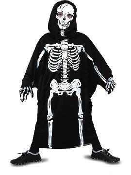 Disfraz de esqueleto con mascara para niño. Es muy cómodo para vestir a los mas pequeños de la casa, y que puedan hacer mil travesuras en las fiestas temáticas de las guarderías, en halloween. Es ideal para tus fiestas temáticas de disfraces de miedo y esqueleto infantiles.
