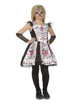 disfraz de esqueleto dia de los muertos niña