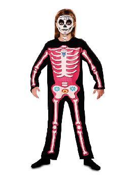 disfraz de esqueleto dia de los muertos rosa niña