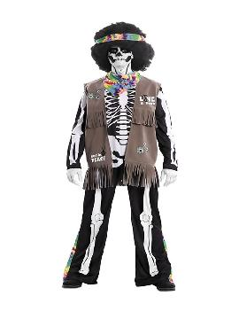 disfraz de esqueleto hippie para hombre