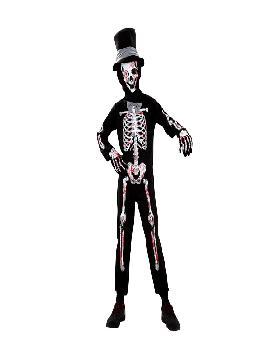 Disfraz de esqueleto sangriento para niño. Es muy cómodo para vestir a los diminutos de la casa, y que puedan hacer mil travesuras en las fiestas temáticas de las guarderías, en halloween. Es ideal para tus fiestas temáticas de disfraces de miedo y esqueletos infantiles.