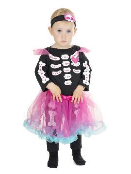 disfraz de esqueleto tutu colores bebe