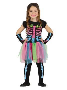 disfraz de esqueleto tutu colores niña