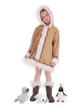 disfraz de esquimal con peluche para niña