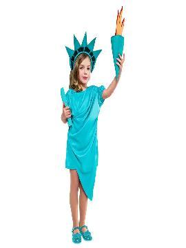 disfraz de estatua de la libertad niña