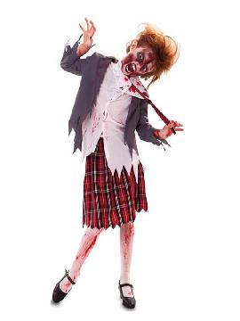 disfraz de estudiante zombie de niña