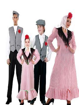 disfraz de familia de chulapos madrileños.  Disfrutarás de la Verbena de la Paloma en familias o grupos tus Fiestas Temáticas, Carnavales o en Ferias Madrileñas.
