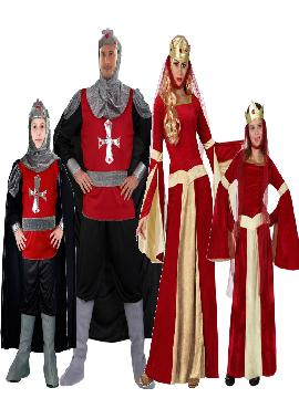 disfraz de familia y grupo de medievales