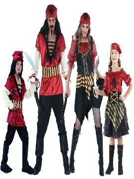 disfraz de familia y grupo de piratas. Te hará sentir como unos auténticos bandoleros de los mares.Con estos trajes piratas rojos.Este disfraz es ideal para tus fiestas temáticas de disfraces piratas, bucaneros y corsarios para grupos y familias.