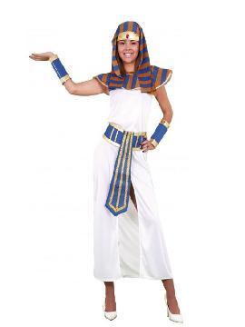 disfraz de faraona mujer. Prepárate para salir de casa acompañanda a la faraon egipcio nefertiti en carnavales. Este disfraz es ideal para tus fiestas temáticas de disfraces romanos y egipcios adulto en pareja o familia.