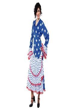 disfraz de flamenca azul para mujer. Podrás echarte un baile con castañuelas con este traje de sevillana lunares blancos mujer,taconeando bajo la luz..Este disfraz es ideal para tus fiestas temáticas de disfraces de sevillana,flamencas y andaluzas para mujer adultos