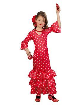 disfraz de flamenca roja topos blancos niña. Compra tu traje barato y original para fiestas regionales y feria de abril.Ser una bailaora de sevillanas y flamenco.Este disfraz es ideal para tus fiestas temáticas de disfraces de sevillana,flamencas y andaluzas para infantiles.