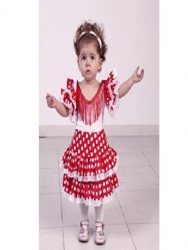 disfraz de flamenca rojo y blanco niña talla 3 a 4 años.Compra tu disfraz barato y original para fiestas regionales y feria de abril.Ser una bailaora de sevillanas y flamenco.Este disfraz es ideal para tus fiestas temáticas de disfraces de sevillana,flamencas y andaluzas para niñas infantiles.