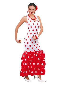 disfraz de flamenca o sevillana topos rojos mujer. Compra tu disfraz barato adulto para tu grupo. Este traje es ideal para tus fiestas temáticas de andaluces y flamencos.