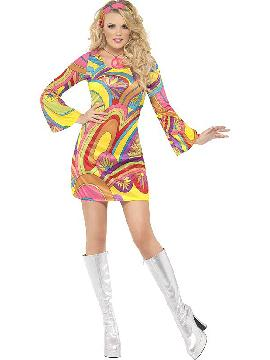 disfraz de hippie flowerpower fever mujer