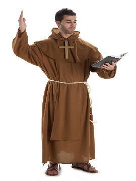 disfraz de fraile marron para hombre adulto