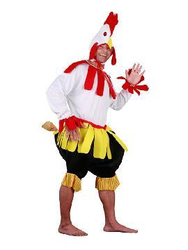 disfraz de gallo blanco de corral hombre