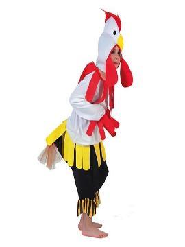 disfraz de gallo blanco niños. Los pequeños de la familia serán auténticos animalitos de granja.Con este disfraz de gallo blanco niño.Forma tu familia de corral con la gallina y el pollo.Este disfraz es ideal para tus fiestas temáticas de disfraces de animales para niños infantiles.