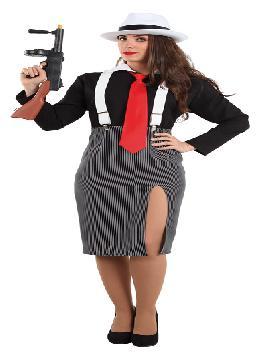 Disfraz de ganster mujer. Es perfecto para volver a los años 20 y disfrutar del ritmo del charleston en tus fiestas temáticas.Este disfraz es ideal para tus fiestas temáticas de disfraces de gangsters, años 20 y cabaret para mujer adultos.
