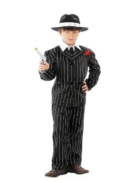 disfraz de gánster negro con rayas niño