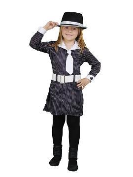 disfraz de gánster rayas niña