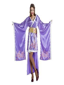 disfraz de geisha lila mujer. Si siempre te has sentido atraida por la cultura orienta con este traje de oriental, te integrarás en el ambiente del lejano oriente. Este disfraz es ideal para tus fiestas temáticas de disfraces de ninja,chinos,orientales y geishas adulto.