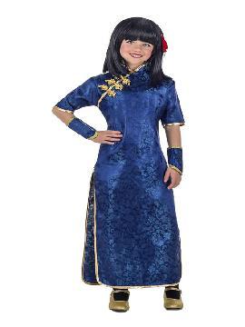 disfraz de gheisa azul para niña