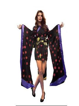 disfraz de gheisa negra mujer