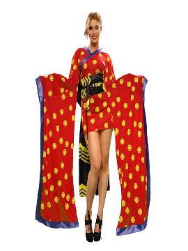 disfraz de gheisa roja mujer. Como recién llegado de japón te ofrecemos este vistoso disfraz gheisa, conviértete en una bella y tradicional dama nipona con este maravilloso disfraz oriental.Este disfraz es ideal para tus fiestas temáticas de disfraces de ninja,chinos,orientales y geishas para adulto