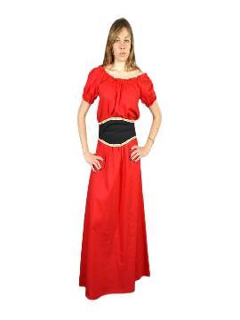 disfraz de gisla medieval rojo mujer adulto. Te convertirás en una auténtica mujer de la época medieval cuando lleves este vestido de gisla medieval para mujer, representaciones teatrales, bodas medievales y mercados. Este disfraz es ideal para tus fiestas temáticas de disfraces epoca y medievales para la edad media
