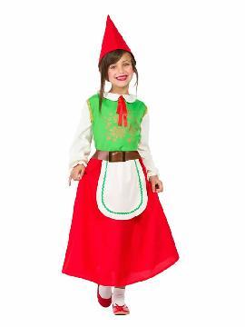 disfraz de gnomo verde y rojo niña