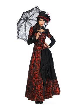 disfraz de gotica roja deluxe mujer