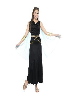 disfraz de griega negra mujer. este tipo de vestidos, son favorecedores y aportan mucho estilo, para poder asistir a cenas y bailes de disfraces elegantes. Este disfraz es ideal para tus fiestas temáticas de disfraces de guerreros y arabes, romanos y egipcios para adultos.