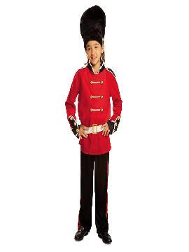 disfraz de guardia inglesa para niño infantil. Te transformará en el valiente militar que proteja a la  familia real  inglesa en Londes. Practica tus mejores pasos marciales para desfilar con estilo en Carnavales. Este disfraz es ideal para tus fiestas temáticas de disfraces de uniformes de trabajo y deporte.
