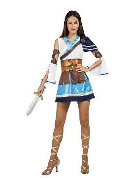 disfraz de guerrera griega mujer. Este tipo de vestidos, son favorecedores y aportan mucho estilo, para poder asistir a cenas y bailes de disfraces elegantes. Este disfraz es ideal para parejas y para tus fiestas temáticas de disfraces de guerreros y arabes, romanos y egipcios para adultos.