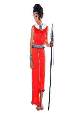 disfraz de guerrera masai para mujer varias tallas. Vete preparando ese ritmo massai con el que lucirás a la perfección.Únete al resto de la tribu para disfrutar del Carnaval.Este disfraz es ideal para tus fiestas temáticas de disfraces del mundo,paises y regionales mujer adultos.