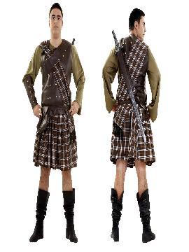 disfraz de guerrero escoces marron hombre