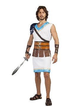 disfraz de guerrero griego hombre adulto. Inspirado en la vestimenta típica de los guerreros romanos, o de los miembros de la aristocracia griega antigua. Este disfraz es ideal para tu pareja o para tus fiestas temáticas de disfraces de guerreros y arabes, romanos y egipcios para grupos y familias.
