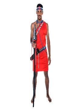 Disfraz de Guerrero masai para hombre. Únete al resto de la tribu para danzar como los massais en carnaval y despedidas. Este disfraz es ideal para tus fiestas temáticas de disfraces del mundo,países y regionales para adultos.