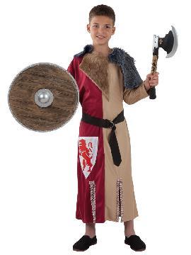 Disfraz de guerrero medieval niño. Te convertirás en un valeroso caballero medieval de antaño dispuesto a ganar mil batallas. Es perfecto para Desfiles, Ferias y Mercados Medievales.Este traje es ideal para tus fiestas temáticas de disfraces de medieval para infantiles. fabricación nacional