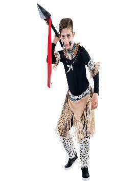Disfraz de guerrero zulu niño. Vete preparando ese ritmo massai con el que lucirás a la perfección.Únete al resto de la tribu para disfrutar del Carnaval.Este disfraz es ideal para tus fiestas temáticas de disfraces del mundo,paises y regionales infantiles