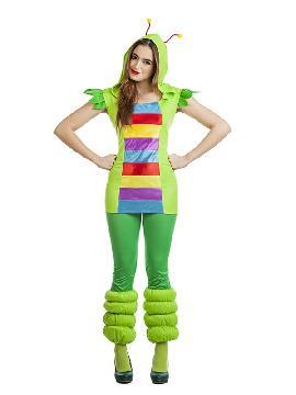 disfraz de gusanita multicolor mujer