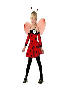 disfraz de hada mariquita niña infantil. Podrás convertir a los pequeños de la casa en simpáticos insectos voladores. Déjalos que se vayan volando a las fiestas escolares. Este disfraz es ideal para tus fiestas temáticas de disfraces duendes,hadas,ninfas y insectos.