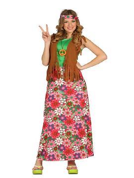 disfraz de happy hippie floral mujer. Vuelve a estos mágicos años con este traje de hippie con su vestido colorido y su bonito chaleco marron.Este disfraz es ideal para tus fiestas temáticas de disfraces hippies Años 60,70 y 80 adulto en pareja