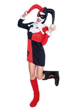 disfraz de harley quinn original mujer adulto. Con este traje seras la autentica super heroina harley quinn y no pasarás desapercibida en las Fiestas de Disfraces, carnaval o Fiestas Temáticas.Este disfraz es ideal para tus fiestas temáticas de disfraces de payasos del circo,bufones y arlequines para mujer adultos