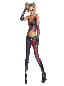 disfraz de harley quinn para mujer arkham city. Batman se dedica a combatir la delincuencia pero, a diferencia de otros superhéroes, no posee superpoderes sino que utiliza el intelecto junto a aplicaciones científicas y tecnológicas para crear armas y herramientas con las cuales atrapar a los criminales. Harley Quinn es la eterna enamorada del Joker y, por tanto, eterna enemiga de Batman. Este superheroe es ideal para tus fiestas temáticas de disfraces superheroes de marvel y comic