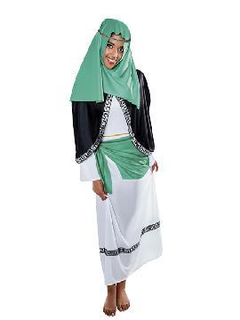 disfraz de hebrea verde blanca mujer adulto