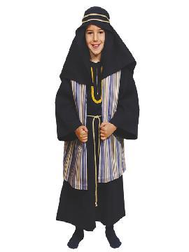 disfraz de hebreo azul para niño. De estética Beduína, te permitirá sentirte como un Jeque Árabe en Fiestas Temáticas y Carnaval, un Pastor en Navidad.Este disfraz es ideal para tus fiestas temáticas de disfraces de navidad y cabalgatas infantiles