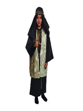 disfraz de hebreo beige para niño. De estética Beduína, te permitirá sentirte como un Jeque Árabe en Fiestas Temáticas y Carnaval, un Pastor en Navidad.Este disfraz es ideal para tus fiestas temáticas de disfraces de navidad y cabalgatas infantiles