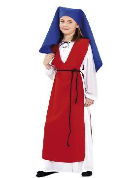 Disfraz de hilandera para niña. Con este traje representaras tus fiestas de navidad y cabalgatas en tus fiesta de cole.